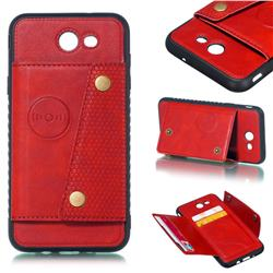 Retro Multifunction Card Slots Stand Leather Coated Phone Back Cover for Samsung Galaxy J7 2017 Halo US Edition - Red