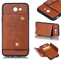 Retro Multifunction Card Slots Stand Leather Coated Phone Back Cover for Samsung Galaxy J7 2017 Halo US Edition - Brown