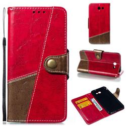 Retro Magnetic Stitching Wallet Flip Cover for Samsung Galaxy J7 2017 Halo US Edition - Rose Red