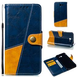 Retro Magnetic Stitching Wallet Flip Cover for Samsung Galaxy J7 2017 Halo US Edition - Blue