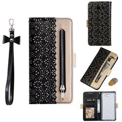 Luxury Lace Zipper Stitching Leather Phone Wallet Case for Samsung Galaxy J7 2017 Halo US Edition - Black