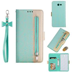 Luxury Lace Zipper Stitching Leather Phone Wallet Case for Samsung Galaxy J7 2017 Halo US Edition - Green