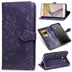 Embossing Imprint Mandala Flower Leather Wallet Case for Samsung Galaxy J7 2017 Halo US Edition - Purple