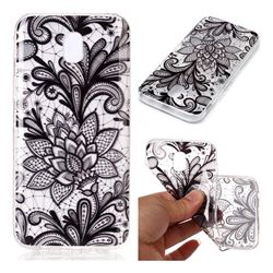 Black Rose Super Clear Soft TPU Back Cover for Samsung Galaxy J7 2017 J730 Eurasian