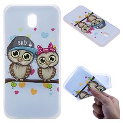 Couple Owls 3D Relief Matte Soft TPU Back Cover for Samsung Galaxy J7 2017 J730 Eurasian