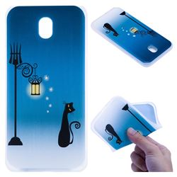 Street Light Cat 3D Relief Matte Soft TPU Back Cover for Samsung Galaxy J7 2017 J730 Eurasian