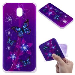 Butterfly Flowers 3D Relief Matte Soft TPU Back Cover for Samsung Galaxy J7 2017 J730 Eurasian