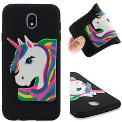 Rainbow Unicorn Soft 3D Silicone Case for Samsung Galaxy J7 2017 J730 Eurasian - Black