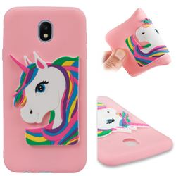 Rainbow Unicorn Soft 3D Silicone Case for Samsung Galaxy J7 2017 J730 Eurasian - Pink