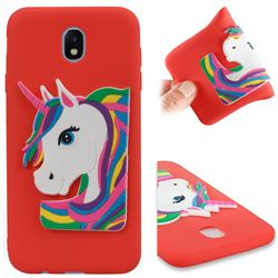 Rainbow Unicorn Soft 3D Silicone Case for Samsung Galaxy J7 2017 J730 Eurasian - Red