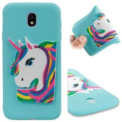 Rainbow Unicorn Soft 3D Silicone Case for Samsung Galaxy J7 2017 J730 Eurasian - Sky Blue