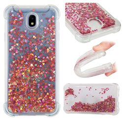 Dynamic Liquid Glitter Sand Quicksand TPU Case for Samsung Galaxy J7 2017 J730 Eurasian - Rose Gold Love Heart