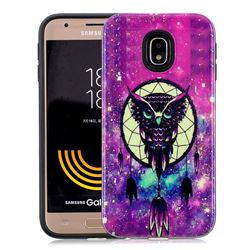 Starry Campanula Owl Pattern 2 in 1 PC + TPU Glossy Embossed Back Cover for Samsung Galaxy J7 2017 J730 Eurasian