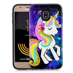 Rainbow Horse Pattern 2 in 1 PC + TPU Glossy Embossed Back Cover for Samsung Galaxy J7 2017 J730 Eurasian