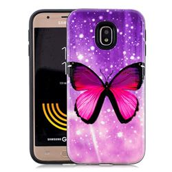 Glossy Butterfly Pattern 2 in 1 PC + TPU Glossy Embossed Back Cover for Samsung Galaxy J7 2017 J730 Eurasian