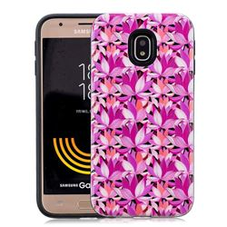 Lotus Flower Pattern 2 in 1 PC + TPU Glossy Embossed Back Cover for Samsung Galaxy J7 2017 J730 Eurasian