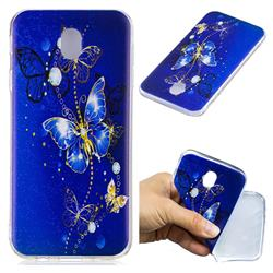 Gold and Blue Butterfly Super Clear Soft TPU Back Cover for Samsung Galaxy J7 2017 J730 Eurasian