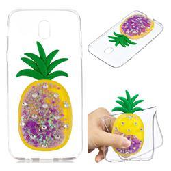 Purple Pineapple Liquid Quicksand Soft 3D Cartoon Case for Samsung Galaxy J7 2017 J730 Eurasian