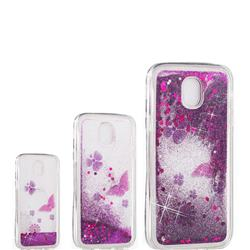 Purple Flower Butterfly Dynamic Liquid Glitter Quicksand Soft TPU Case for Samsung Galaxy J7 2017 J730 Eurasian