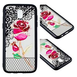 Rose Lace Diamond Flower Soft TPU Back Cover for Samsung Galaxy J7 2017 J730 Eurasian