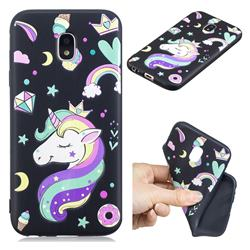 Candy Unicorn 3D Embossed Relief Black TPU Cell Phone Back Cover for Samsung Galaxy J7 2017 J730 Eurasian