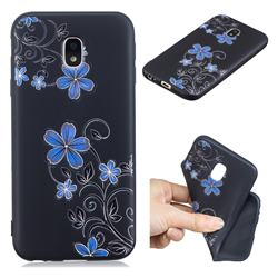 Little Blue Flowers 3D Embossed Relief Black TPU Cell Phone Back Cover for Samsung Galaxy J7 2017 J730 Eurasian