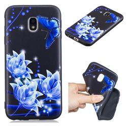 Blue Butterfly 3D Embossed Relief Black TPU Cell Phone Back Cover for Samsung Galaxy J7 2017 J730 Eurasian
