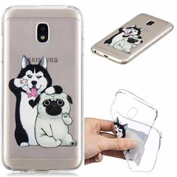 Selfie Dog Clear Varnish Soft Phone Back Cover for Samsung Galaxy J7 2017 J730 Eurasian