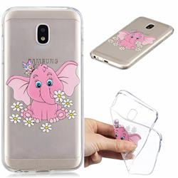 Tiny Pink Elephant Clear Varnish Soft Phone Back Cover for Samsung Galaxy J7 2017 J730 Eurasian