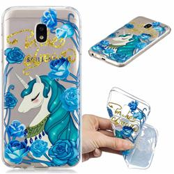Blue Flower Unicorn Clear Varnish Soft Phone Back Cover for Samsung Galaxy J7 2017 J730 Eurasian