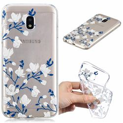 Magnolia Flower Clear Varnish Soft Phone Back Cover for Samsung Galaxy J7 2017 J730 Eurasian