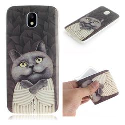 Cat Embrace IMD Soft TPU Cell Phone Back Cover for Samsung Galaxy J7 2017 J730 Eurasian