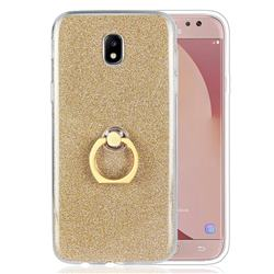 Luxury Soft TPU Glitter Back Ring Cover with 360 Rotate Finger Holder Buckle for Samsung Galaxy J7 2017 J730 Eurasian - Golden