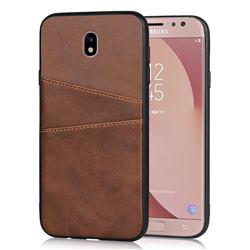 Simple Calf Card Slots Mobile Phone Back Cover for Samsung Galaxy J7 2017 J730 Eurasian - Coffee