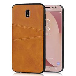 Simple Calf Card Slots Mobile Phone Back Cover for Samsung Galaxy J7 2017 J730 Eurasian - Yellow