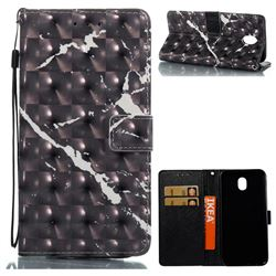 Black Marble 3D Painted Leather Wallet Case for Samsung Galaxy J7 2017 J730