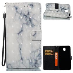 White Gray Marble 3D Painted Leather Wallet Case for Samsung Galaxy J7 2017 J730