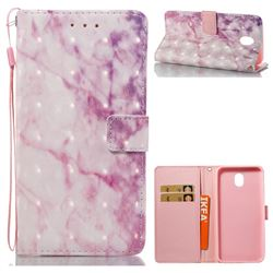 Pink Marble 3D Painted Leather Wallet Case for Samsung Galaxy J7 2017 J730