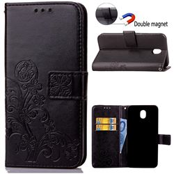 Embossing Imprint Four-Leaf Clover Leather Wallet Case for Samsung Galaxy J7 2017 J730 - Black