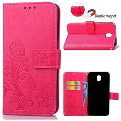 Embossing Imprint Four-Leaf Clover Leather Wallet Case for Samsung Galaxy J7 2017 J730 - Rose