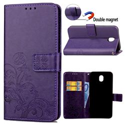 Embossing Imprint Four-Leaf Clover Leather Wallet Case for Samsung Galaxy J7 2017 J730 - Purple