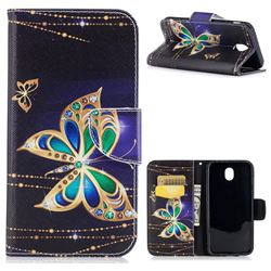 Golden Shining Butterfly Leather Wallet Case for Samsung Galaxy J7 2017 J730
