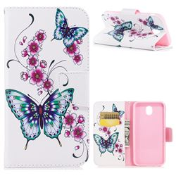 Peach Butterfly Leather Wallet Case for Samsung Galaxy J7 2017 J730
