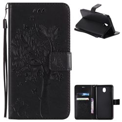 Embossing Butterfly Tree Leather Wallet Case for Samsung Galaxy J7 2017 J730 Eurasian - Black