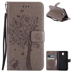Embossing Butterfly Tree Leather Wallet Case for Samsung Galaxy J7 2017 J730 Eurasian - Grey