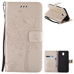 Embossing Butterfly Tree Leather Wallet Case for Samsung Galaxy J7 2017 J730 Eurasian - Champagne