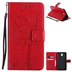 Embossing Butterfly Tree Leather Wallet Case for Samsung Galaxy J7 2017 J730 Eurasian - Red