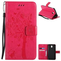 Embossing Butterfly Tree Leather Wallet Case for Samsung Galaxy J7 2017 J730 Eurasian - Rose