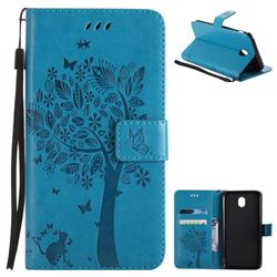 Embossing Butterfly Tree Leather Wallet Case for Samsung Galaxy J7 2017 J730 Eurasian - Blue