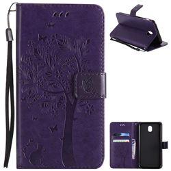 Embossing Butterfly Tree Leather Wallet Case for Samsung Galaxy J7 2017 J730 Eurasian - Purple
